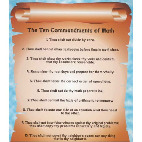 graphic relating to 10 Commandments Poster Printable identified as The 10 Commandments of Math Poster